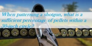 When patterning a shotgun, what is a sufficient percentage of pellets within a 30-inch circle?